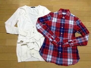 LE SOUK(ルスーク)チェックシャツ超美品ロングカーデセット