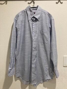 イオン トップバリュー メンズ ワイシャツ Yシャツ 長袖 トップス ストライプ ブルー 白