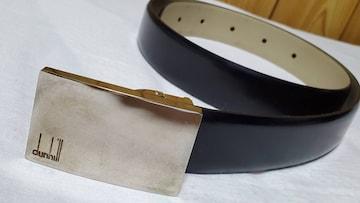 正規レア アルフレッドダンヒル シャイニー鏡面プレートロゴシルバーバックル レザーベルト黒