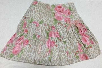 ディアマンテ☆ヒョウ薔薇柄スカート☆ベージュ