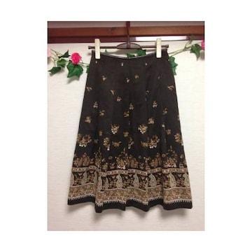 レイトリー◆レトロ 花柄 ミディ プリーツ フレア スカート