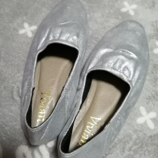 21cm~/新品☆ギャザーフラットシューズ < 女性ファッションの