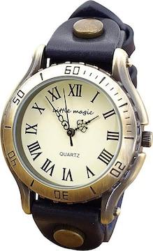 アンティーク 風 腕時計 ネイビー