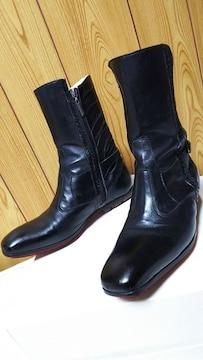 正規レア ロエン ヒロムタカハラ ライダース ミックスレザー サイドジップブーツ黒 最小39 24