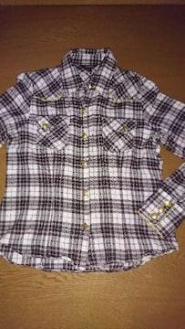 激安出品☆ゴールドラメ入り☆チェックシャツ☆L☆