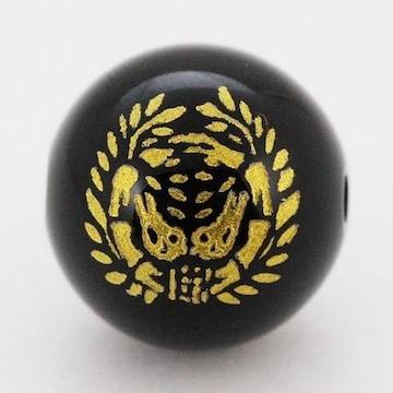 彫刻ビーズオニキス12mm(金色)家紋「伊達政宗」