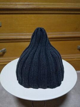 Fred Bare フレッドベア コットン ニットキャップ ビーニー 帽子 S 黒 英国製 古着