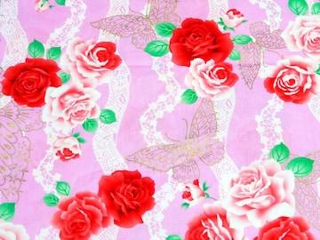 ピンク地 薔薇 蝶 レース柄 生地 50×110 ゴスロリ