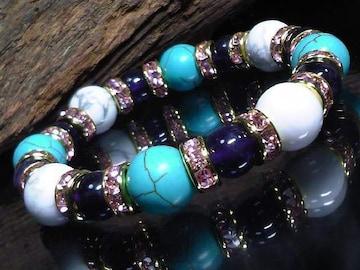ホワイトターコイズターコイズ10ミリアメジスト8ミリ数珠