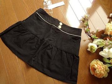 新品 Dress up ボタン使い ミニスカート 黒 Sフレア スカート