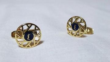 正規 イヴサンローラン YSL エンブレムロゴ 8連オープンラインカフス ゴールドカフリンクスボタン