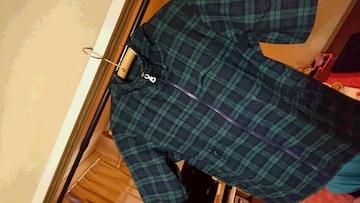 UNIQLO  チェック柄 フード付ジップパーカー  半袖 羽織り