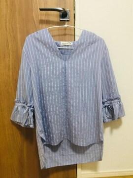 2021ss☆袖リボンぬけ感七分袖さわやかシャツ