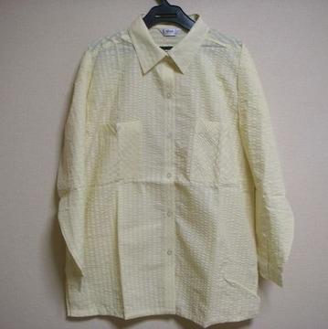 薄イエロー ポコポコ生地 パジャマにも♪ 長袖 シャツ