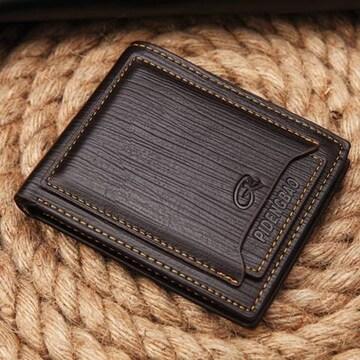 二つ折り 財布 カードケース パスケース カード10枚 茶色