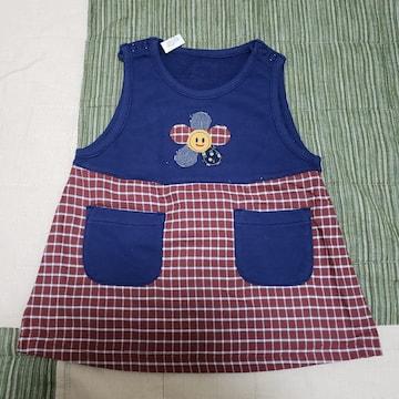 80cm ベビー ワンピース ニコちゃん花 紺色