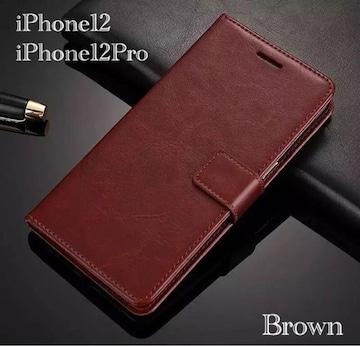 iPhone12 iPhone12Pro 手帳型ケース レザー 革 レザー ブラウン