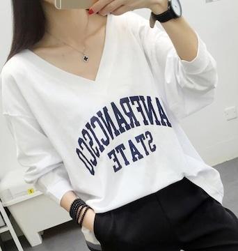 超人気990円★とろみTシャツ ゆったりトップス 白L