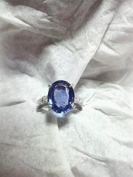 Pt900 大粒タンザナイト 5.02ct ダイヤモンド 0.45ct 高級リング プラチナ