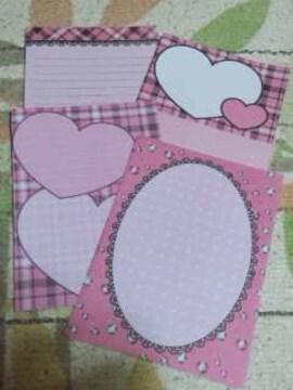 バラ売りハガキサイズメモ帳4種類×5枚 ピンクハートチェック