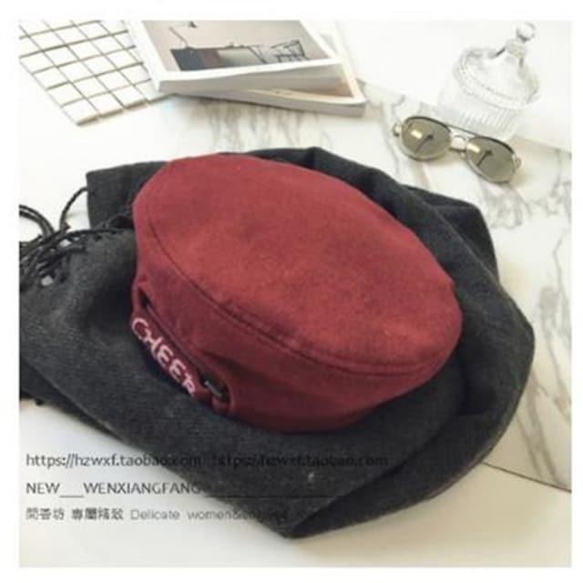 【万能アイテム】ベレー帽  ワインレッド かぼちゃ型 ウール < 女性ファッションの