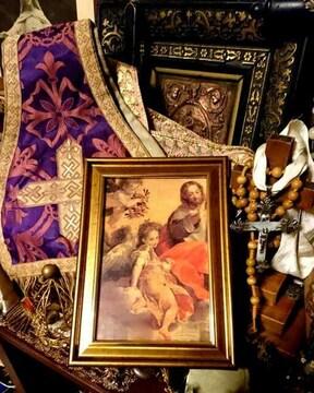 アンティーク 額 絵 天使 飾り 複製 絵画 エンジェル キリスト