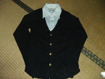 アンサンブル シャツ  + カーデ M ブラック 黒