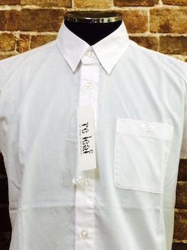表記S/実寸SM.新品!ブロード素材.100%Cotton.ベーシック半袖シャツ/白
