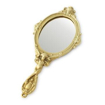 イタリア直輸入 ブラス 手鏡 真鍮 ヨーロピアンテイスト 天使