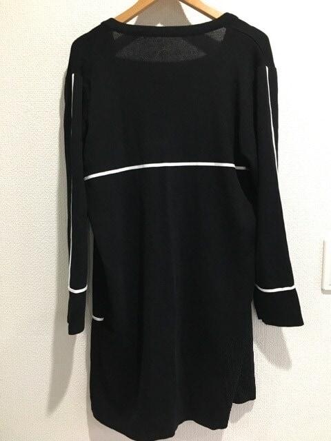 Piacere ピアチェーレ ロング カーディガン 長袖 アウター ジャケット 黒 ブラック < 女性ファッションの