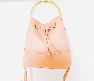 ピンクゴールドワンハンドルハンドバッグショルダーポシェット金