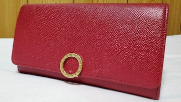 正規 ブルガリ B−zeroリングクリップ 長財布赤 小銭入れ有 ロングウォレット