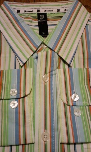 MAKAVELIデザインストライプ長袖シャツXL �Sラスト一枚 < 男性ファッションの