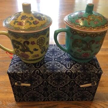 蔵出 中国骨董 中華帝国景徳鎮製清王朝龍紋蓋付お茶コップセット