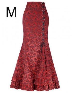 新品☆編み上げ裾キレイ♪超ロング丈マキシスカート レッド M