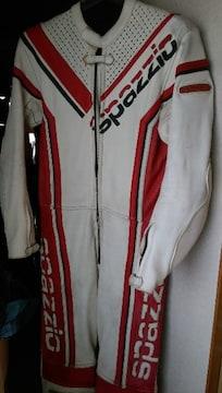 服送円spazzioレーシングスーツ白/赤S-Mバイクツナギ上下160ライダースウェア