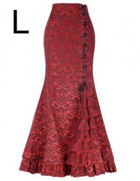 新品☆編み上げ裾キレイ♪超ロング丈マキシスカート レッド L