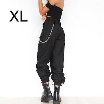 新品☆チェーン付き♪シンプルパンツ ブラック XL
