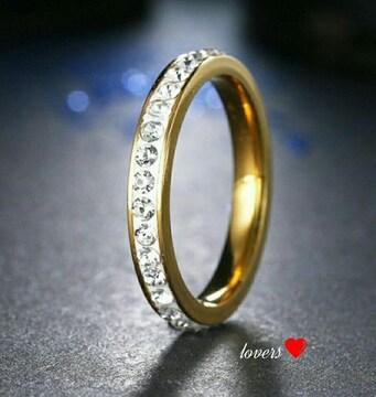 送料無料24号ゴールドスーパーCZダイヤフルエタニティリング指輪