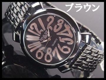 人気★T&Hメンズ腕時計メタルウォッチ★ブラウン文字盤