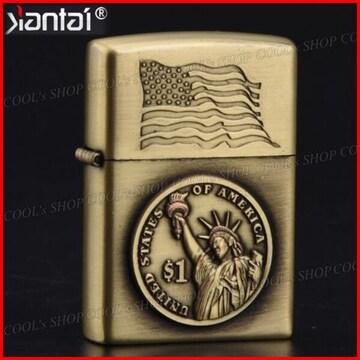 1ドル硬貨デザイン オイルライター Jantai ゴールド Zippo 金 $