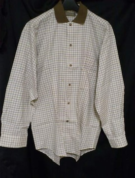 セール90s ブラウン×ブルーチェック柄シャツロングシャツ