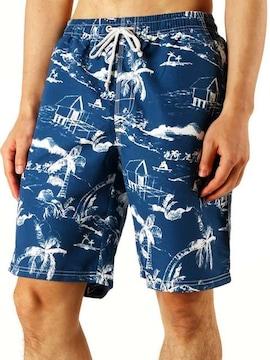 水着 メンズ 海水パンツ パームツリー・ブルー