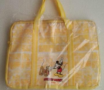 新品*ミッキーマウス*コミック柄ボストンバッグ・黄×白マンガ鞄