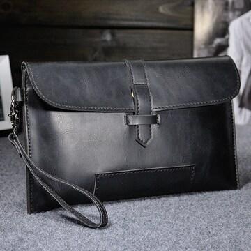 セカンドバッグ 小型 おしゃれな ヴィンテージ加工 黒色