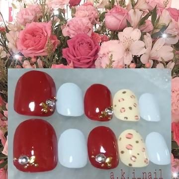 ジェルネイルチップ☆付け爪〜ヒョウ柄ワンポイント