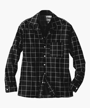 3Lサイズ!クールな紳士的イタリアンカラー切替!!前ボタン二重デザイン長袖シャツ!黒!