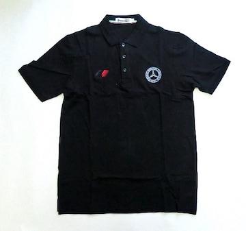 1セール!  ベンツ ロゴ  ポロシャツ黒 XL f156