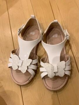 H&M白シンプルラメラメ蝶々可愛い合わせやすい楽ちんサンダル18