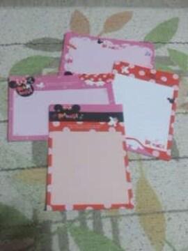 【バラ売り】ハガキサイズ メモ帳4種類×5枚 ミニーマウス